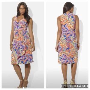 EUC Ralph Lauren Plus Paisley jersey wrap dress
